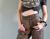 70s Vintage High Waisted Brown Leather Pants