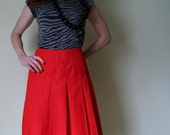 70s Bright Red Pleated Skirt