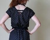 Vintage 70s Black and White Polka Dot Summer Dress