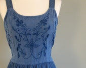 80s Embroidered Jean Blue Long Summer Dress