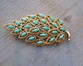 50's Gold and Turquoise Brooch