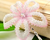 Hawaiian flower bobby pin - pale pink and white - Wahine