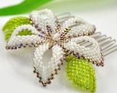 Cherry blossom hair comb - 22kt iris gold and white beaded flower  - Fairy Blossom