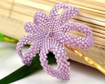 Hawaiian Plumeria hair clip - lavender opal beaded flower - Kai 'Ina