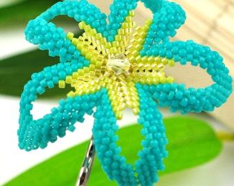 Carribean Plumeria hair clip - turquoise, lime, yellow beaded flower - Sea Star