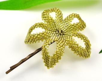 Plumeria hair pin - hawaiian lemongrass green beaded flower - Mau'u