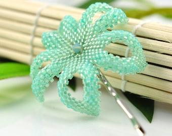 Tropical flower bobby pin - sea foam green opal - Creme de Menthe