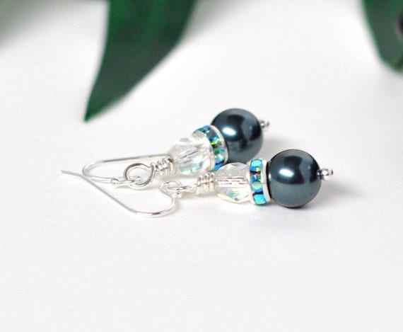 Sterling Silver bridal earrings - tahitian pearl and glass - North Shore