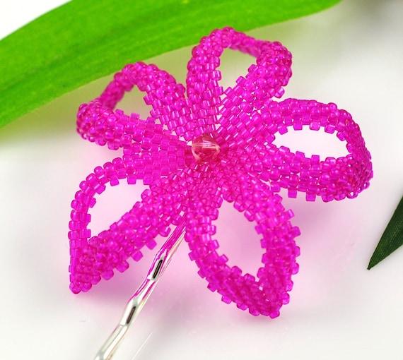 Hawaiian Plumeria hair clip - fuchsia pink beaded flower - Pu'uwai