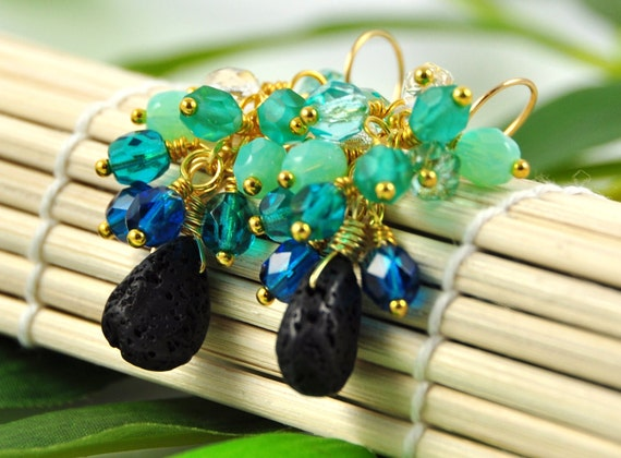 Gemstone cluster earrings - lava rock and ocean blue glass - Sand and Sea