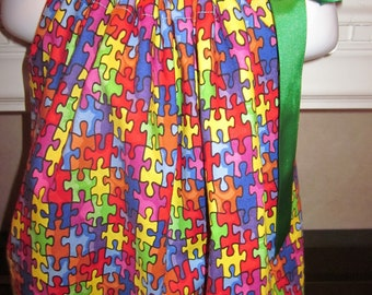 Boutique Pillowcase Dress Autism Awareness Logo Puzzle Design