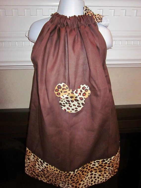 Boutique Pillowcase Dress Disney Minnie Mickey Mouse Brown Leopard Animal Print Purrrfect for Animal Kingdom 2T, 3T, 4T, 5, 6, 7