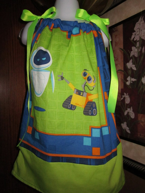 Custom Boutique Pillowcase Dress Wall-e and Eve 2T, 3T, 4T, 5, 6, 7