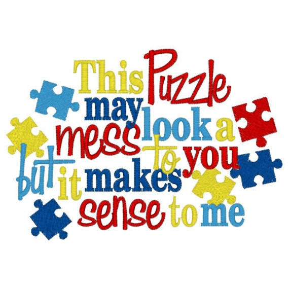 Love Puzzle Quotes: Autism Awareness Puzzle Pieces Embroidery T Shirt