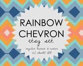 Reserved for Geaux Girl Designs - RAINBOW CHEVRON - etsy banner & avatar set