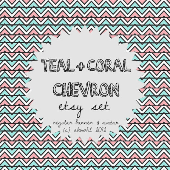 Teal and Coral Chevron - etsy set