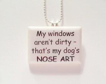 Dog Nose Art  Game Tile Pendant Necklace
