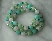 BLUE, GREEN & WHITE Glitter Beaded Stretch Bracelets- Tri Set