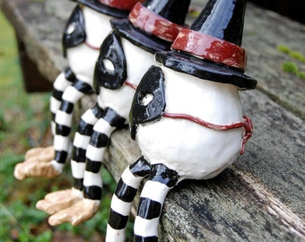 Ceramic Witch Egg Sculptures Halloween Decorations Set Of Three