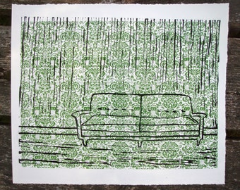 Olive Couch Hand Pulled Print Linocut Screen Print