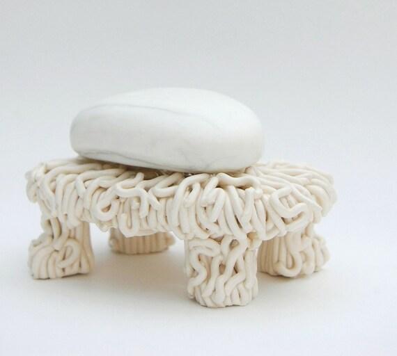 Ceramic Soap Dish Hairy Sculpture Cream