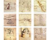"Leonardo da Vinci. Machines (028) 1 inch square digital images collage sheet 4x6"""
