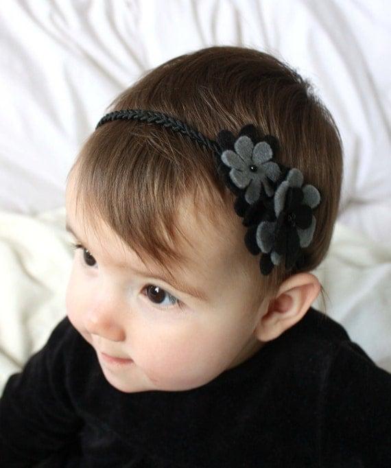 Black Baby Headband  - Baby Hairband - Felt  Headband for Girls - Black and Grey Headband