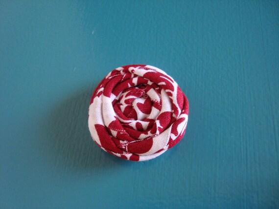 Rolled Fabric Flower Headband Single - Dark Red and White Damask - on Skinny Elastic - Newborn Infant Toddler Girl Adult