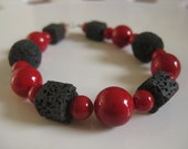 Black and Red Bracelet Sterling Silver Lava Stone