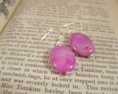 Fuchsia Sterling Silver Earrings Hot Pink Earrings Crazy Lace Agate