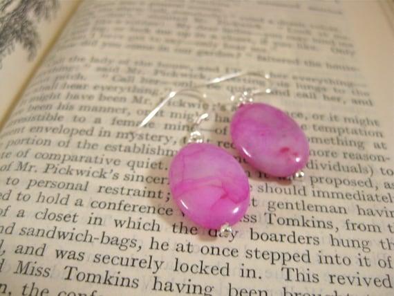 Fuchsia Sterling Silver Earrings Hot Pink Earrings Crazy Lace Agate