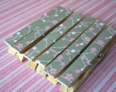 Pink and White Flowers on Gray Background Decorative Wooden Clothespins - Set of 6