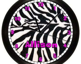 Personalized Zebra Print Black and Hot Pink Wall Clock