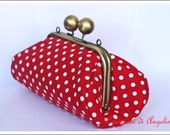 Strawberry Clutch Purse red and white pois