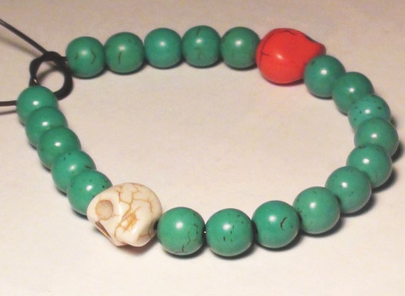Turquoise and Skull Stretch Bracelet