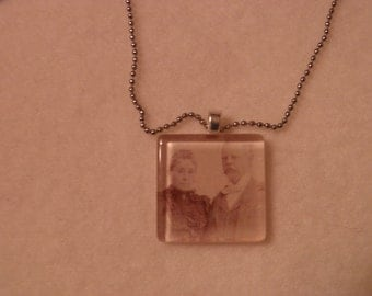 Lovely Captain Frederick Pabst and Maria Best Pabst Glass Portrait Necklace