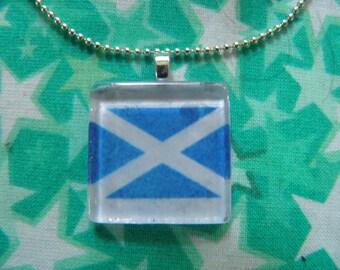 Scottish Flag Glass Pendant Necklace