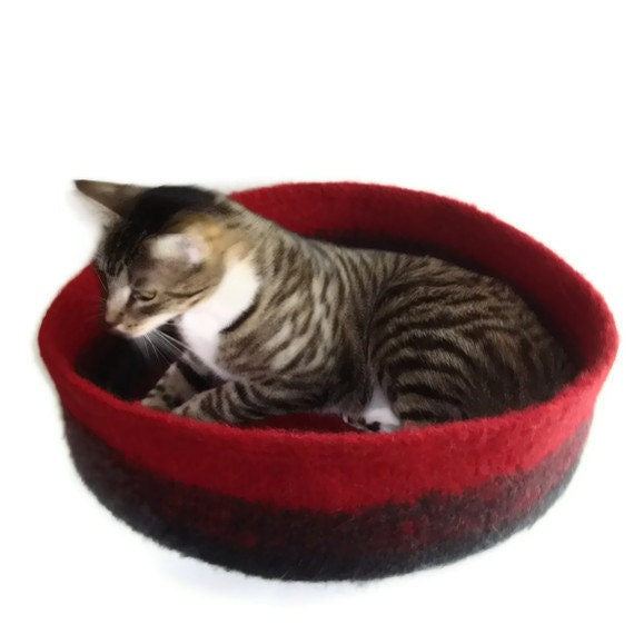 Hand Knit Felted Cat Bed Merino/Highland Wool Pet Bed Cat Napper - Esmee