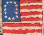 Primitive American Flag, Folk art Amercian flag