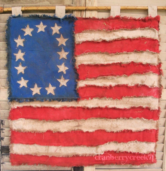 Primitive American Flag, Folk art Amercian flag