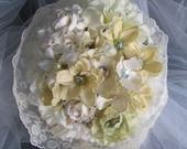 Antique white jeweled roses, dogwood, hydrangea wedding bouquet / Wedding Belle