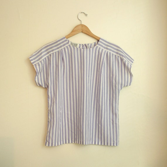 white periwinkle blue striped blouse