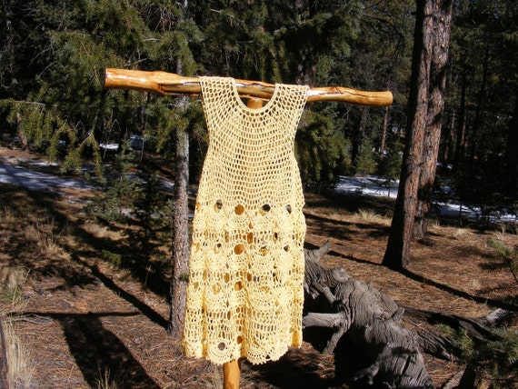 WOW ITS SPRING Clamhell Dress in yellow cotton