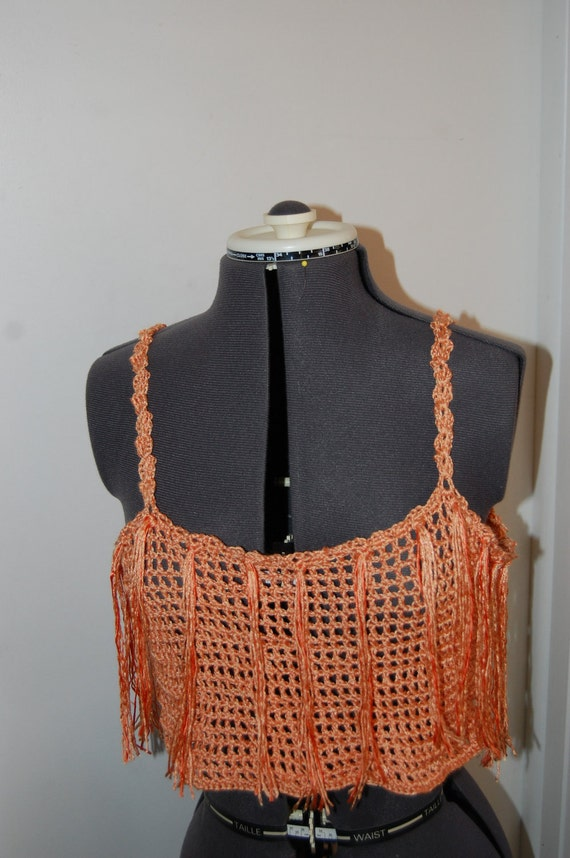 Little Peach Crochet Fringe Top Size Medium