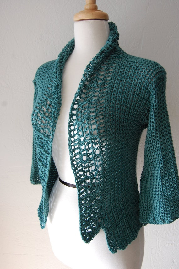 Lightweight Crochet Cardigan Stormy Blue Size Medium