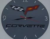Corvette metal round wall clock