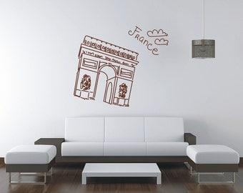Paris Arc De Triomphe Wall Sticker, Vinyl Decal, Wall Tattoo, Mural Art