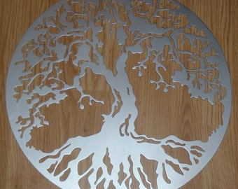 Tree Of Life,  36 inches, 90 cm, Wall decor, Metal Art - Silver Look