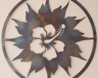 Hibiscus and Sun, Metal art, Round Wall Decor