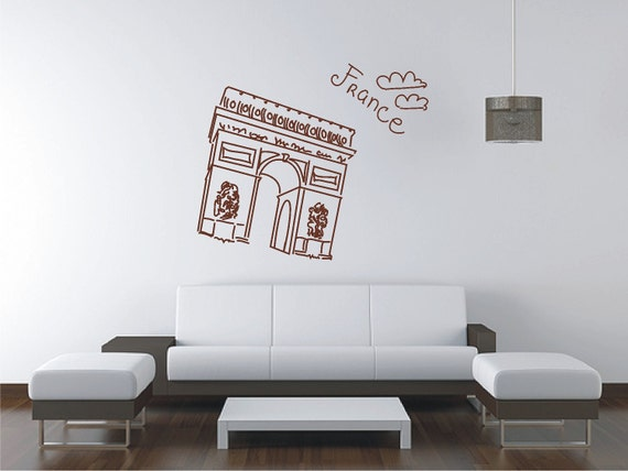 Paris arc de triomphe wall sticker vinyl decal wall tattoo for Arc de triomphe wall mural